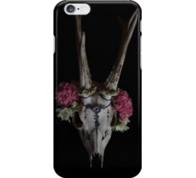 Roebuck Skull With Flower Necklace iPhone Case/Skin