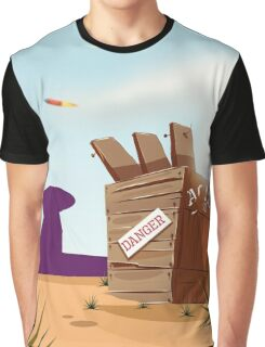 Cartoon Rocket flying from a crate Graphic T-Shirt