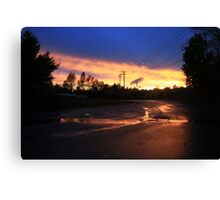 Supermarket Parking Lot at Sunset Canvas Print