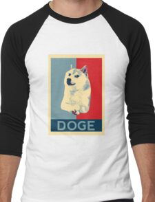 DOGE - doge shepard fairey poster with dog red / blue Men's Baseball ¾ T-Shirt