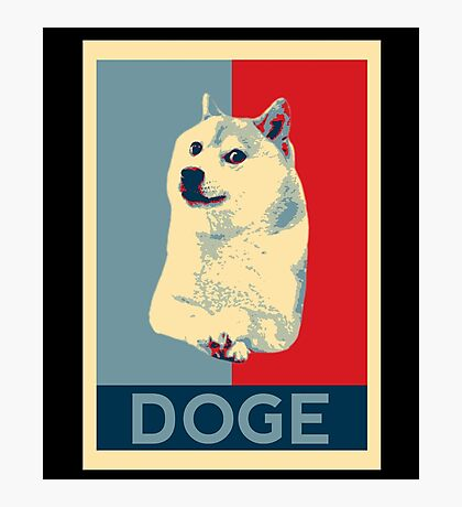 DOGE - doge shepard fairey poster with dog red / blue Photographic Print