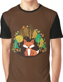 Flower Forest Fox Single Graphic T-Shirt