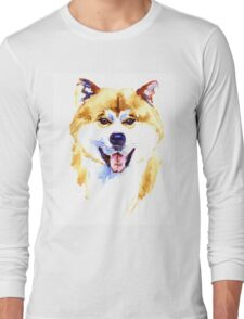 Watercolor Akita inu dog on white background Long Sleeve T-Shirt