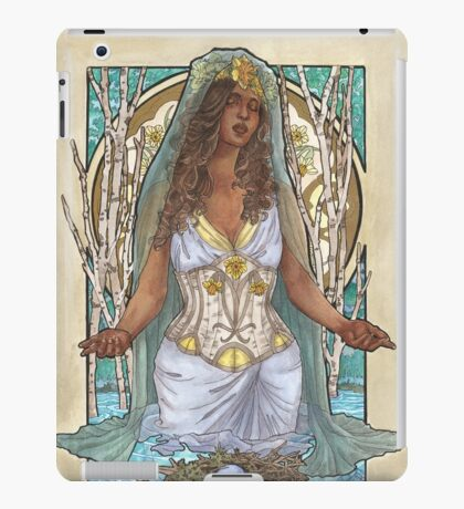 Lady of March with Daffodils and Birch Trees Easter Resurrection Maiden Mucha Inspired Birthstone Series iPad Case/Skin