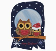 Christmas Owls in a snowy full moon night & text Kids Clothes