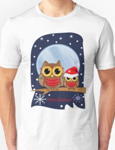 Christmas Owls in a snowy full moon night & text Unisex T-Shirt