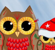 Christmas Owls in a snowy full moon night & text Sticker