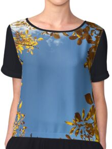 Blue sky surrounded by yellow leaves Chiffon Top