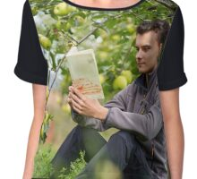 Teenager reading a book in the orchard Chiffon Top