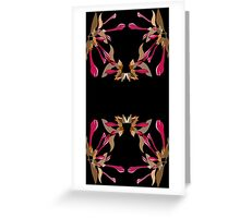 Kaleidoscope Style Cyclamen and Brown Artsy Floral Pattern  Greeting Card