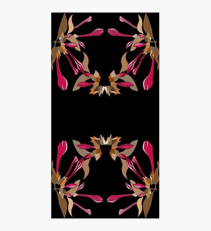 Kaleidoscope Style Cyclamen and Brown Artsy Floral Pattern  Photographic Print