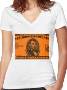 LINCOLN-5 DOLLAR COLOUR Women's Fitted V-Neck T-Shirt