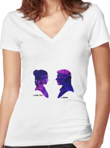 Princess Leia and Han Solo - I Love you, I know Women's Fitted V-Neck T-Shirt