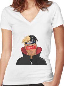 XXXTentacion - Free X (Supreme) Women's Fitted V-Neck T-Shirt