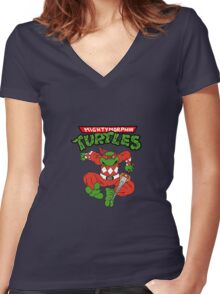 Mighty Morphin Turtles - Raphael Red Ranger Women's Fitted V-Neck T-Shirt