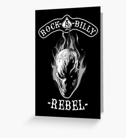 Rockabilly Rebel Skull monotone Greeting Card