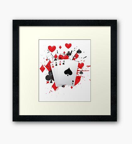 Four Aces Cards Poker Hand Colors Splash Framed Print