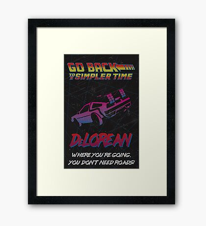 Retro Back to the Future Travel Poster Framed Print