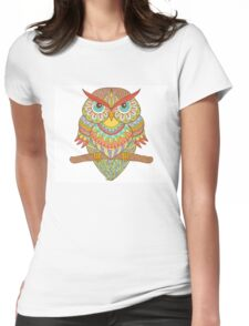 ornate tattooed owl Womens Fitted T-Shirt