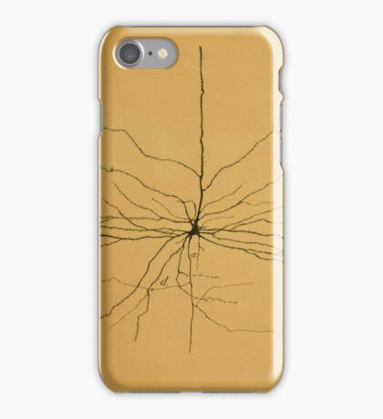 Pyramidal Cell in Cerebral Cortex, Cajal Illustration iPhone Case/Skin