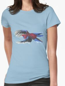 Crimson Rosella in Flight Womens Fitted T-Shirt