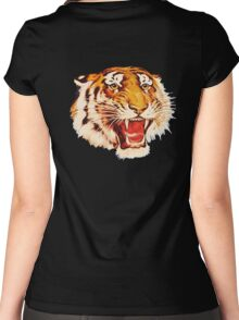 TIGER, Head, Growl, on Black Women's Fitted Scoop T-Shirt