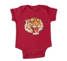 TIGER, Head, Growl, on Black One Piece - Short Sleeve
