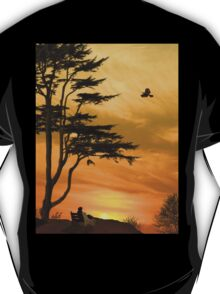 Girl On A Bench At Sunset T-Shirt