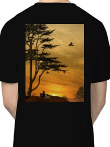 Girl On A Bench At Sunset Classic T-Shirt