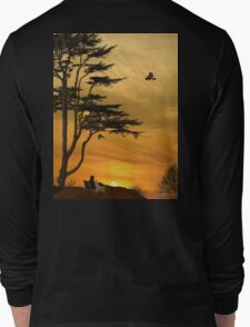 Girl On A Bench At Sunset Long Sleeve T-Shirt