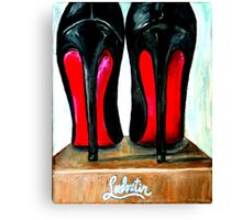 Christian Louboutin Pop Art Bright Black Red Bottom Heels Canvas Print