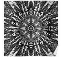 Beautiful Black & White Kaleidoscope Pattern Poster