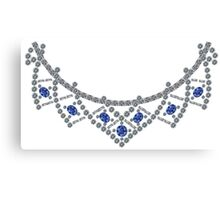 1950s Diamond Sapphire Necklace Canvas Print