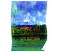 Road nature painting photo Poster
