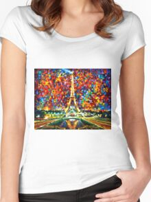 paris of my dreams - Leonid Afremov Women's Fitted Scoop T-Shirt
