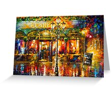 Misty Cafe - Leonid Afremov Greeting Card