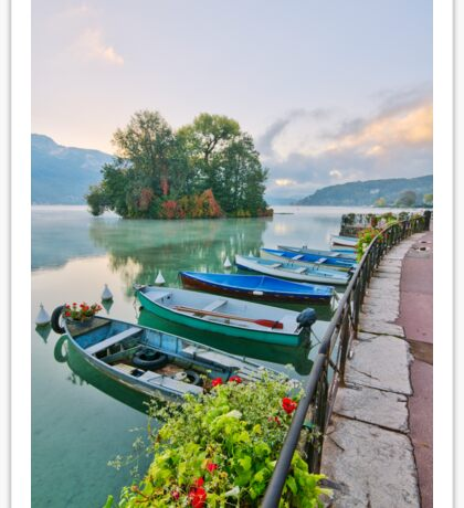 Annecy lake and the Swans Island Sticker