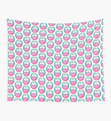 Owl Teal & Mauve Wall Tapestry