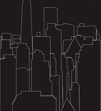New York City Black and White Outline  Sticker