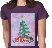 A Kitty Christmas Womens Fitted T-Shirt