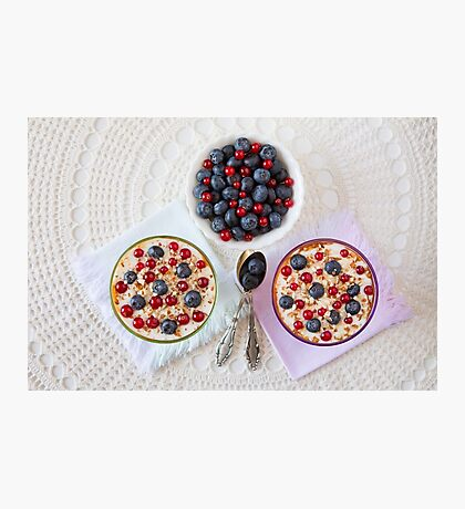 Two yogurt dessert with berries and almonds Photographic Print