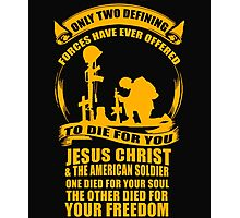 Military Veteran Soldier Jesus Christ two defining Forces Photographic Print