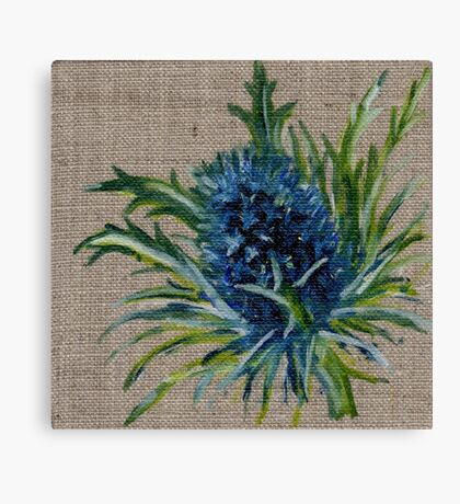Blue Thistle Oil Painting Canvas Print