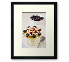 Closeup of a dessert with berries and cream Framed Print