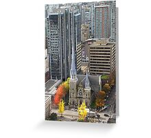 Downtown Skyscrapers and Cathedral from Harbour Tower, Vancouver City, Canada Greeting Card