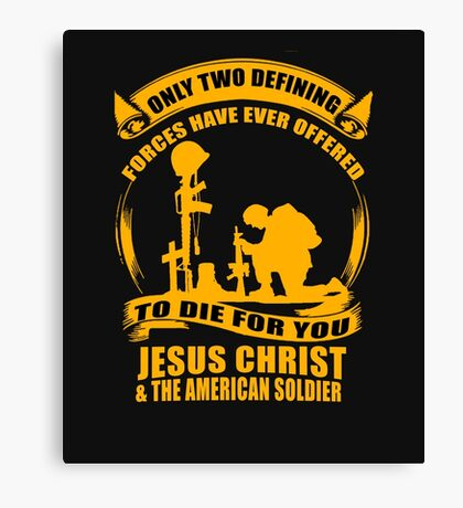 Two Defining Forces Jesus Christ and the American Soldier Canvas Print