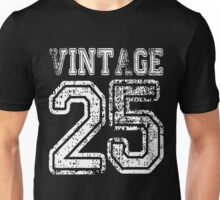 Vintage 25 2025 1925 T-shirt Birthday Gift Age Year Old Boy Girl Cute Funny Man Woman Jersey Style Unisex T-Shirt
