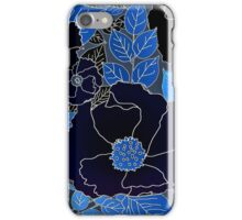 Blue and Black  Handdrawn Floral  iPhone Case/Skin