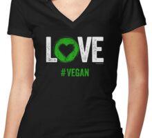 Vegan T-Shirt | LOVE #VEGAN Women's Fitted V-Neck T-Shirt