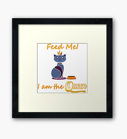 Funny Queen Cat Animal Framed Print